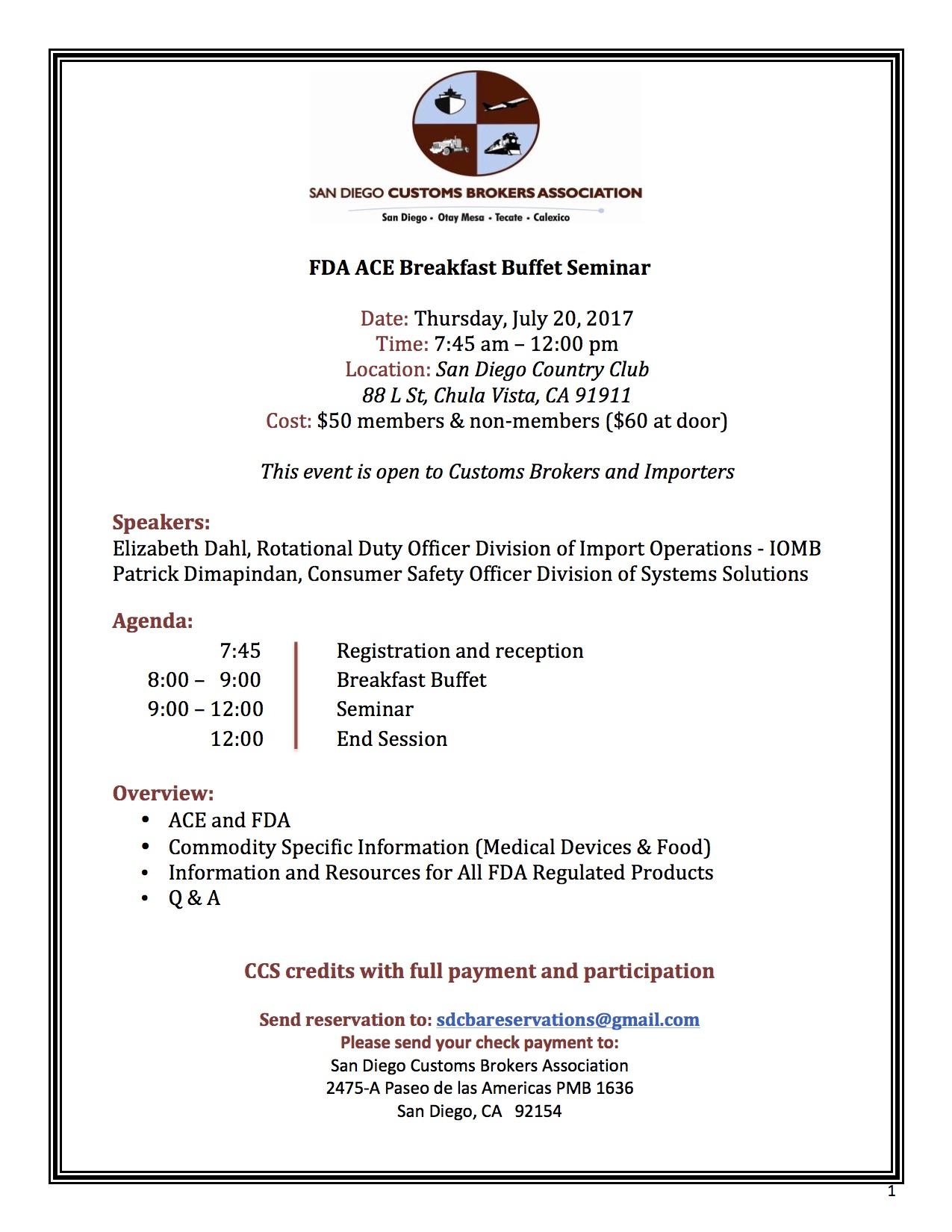 FDA ACE Seminar Flyer